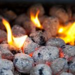burning charcoal briquettes