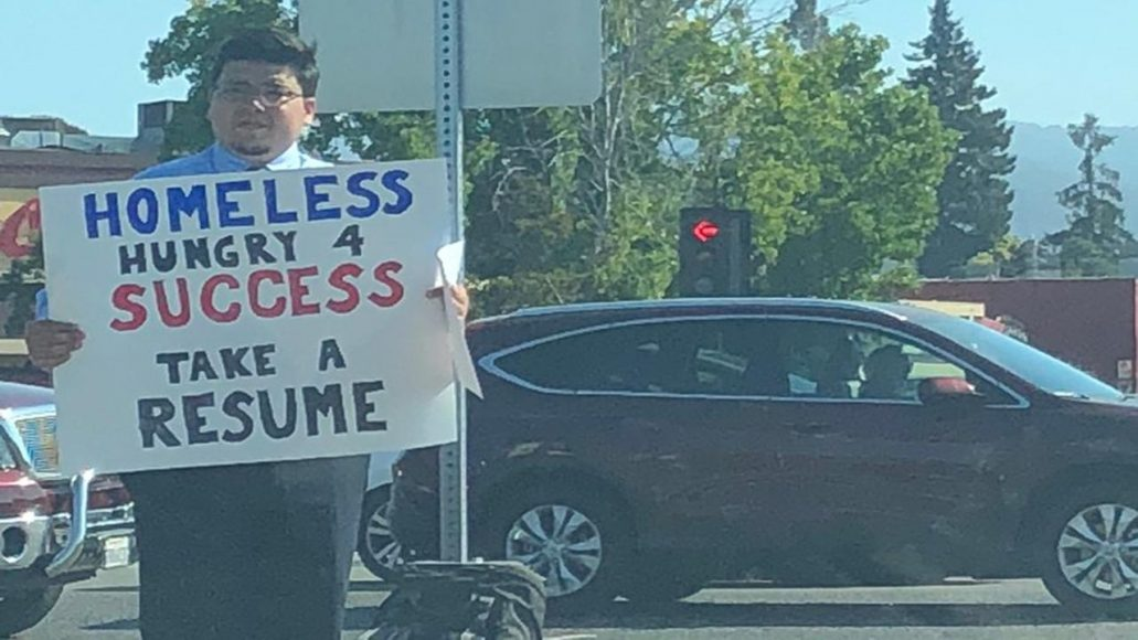 Homeless college graduate lands job after handing out resumes on street corner in California